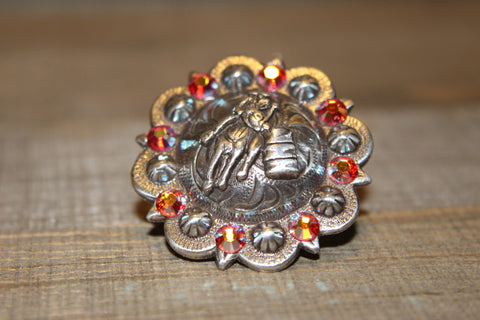 "1 3/8"" Custom Antique Silver Praying Cowboy Concho - Fire Opal"