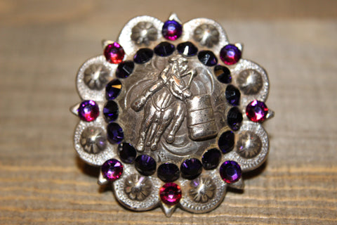 "1 3/4"" Custom Antique Silver Barrel Racer Concho - Purple Velvet and Crystal Volcano"