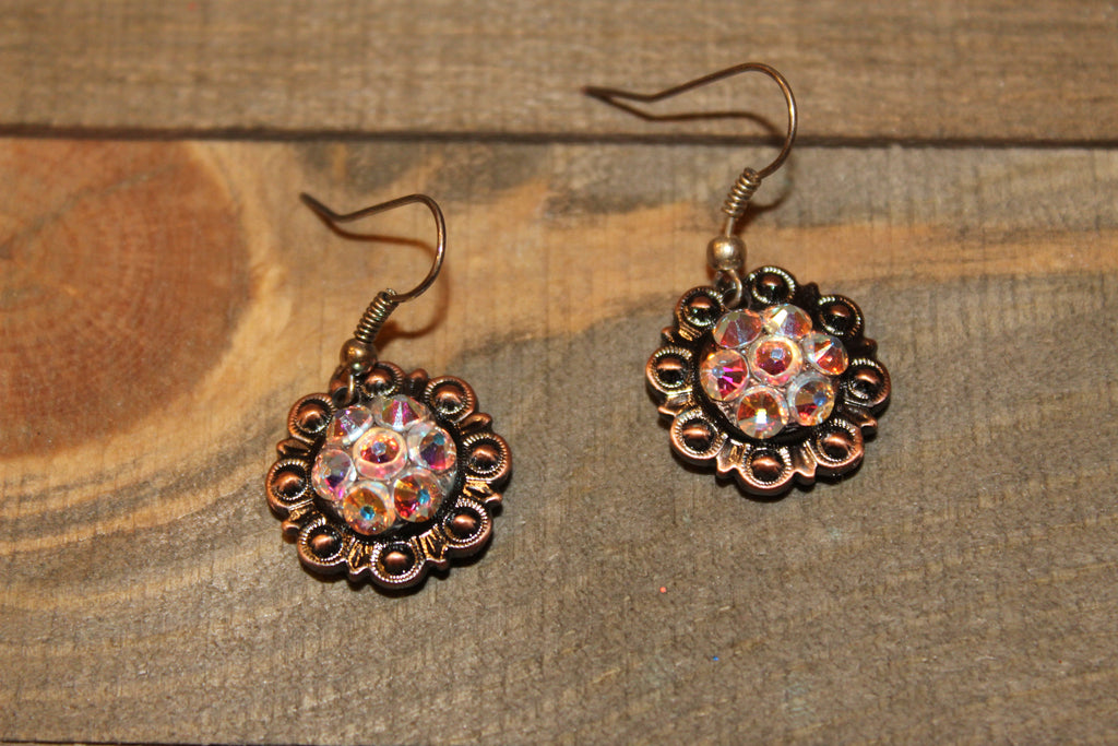 "3/4"" Copper Concho Earrings - Crystal AB"