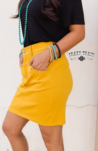 The Law Maker Skirt - Mustard
