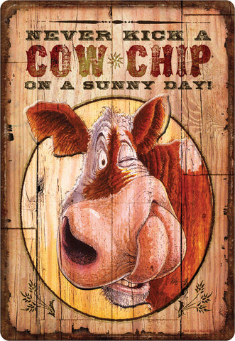 "12"" x 17"" Tin Sign - Cowchip"