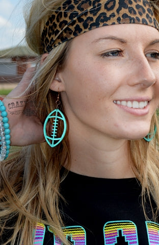 Turquoise First Down Football Earrings