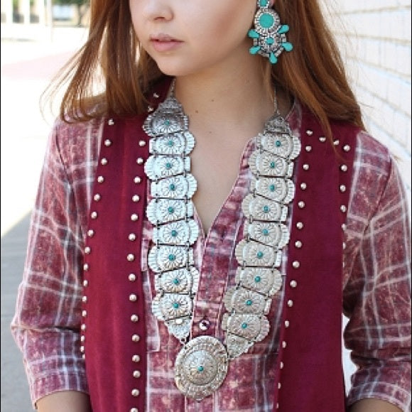 Turquoise Concho Queen Necklace