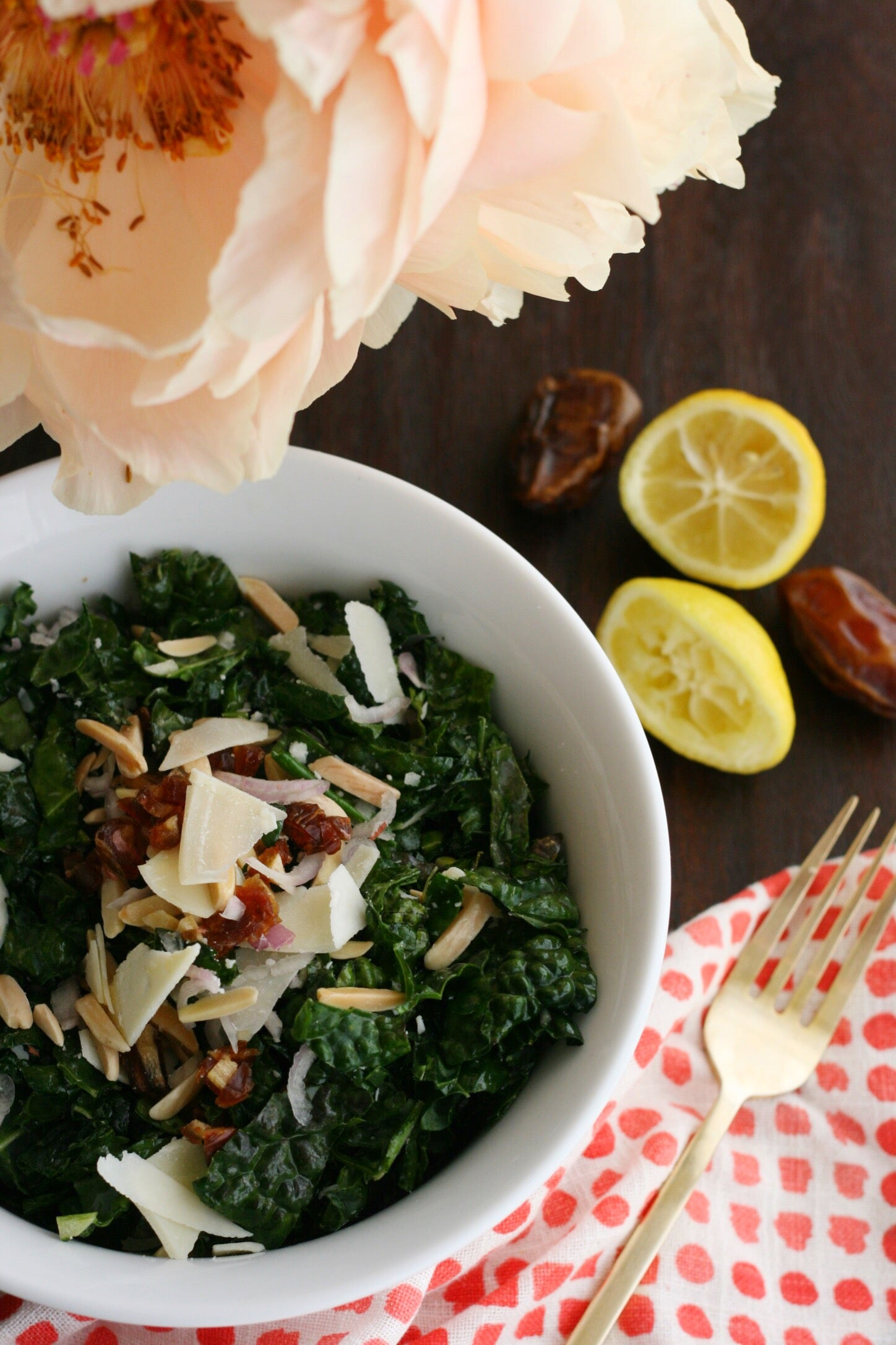 Lactation Recipes: Kale Salad with Dates and Toasted Almonds