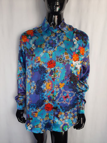Blue Satin Silk Shirt (Large)