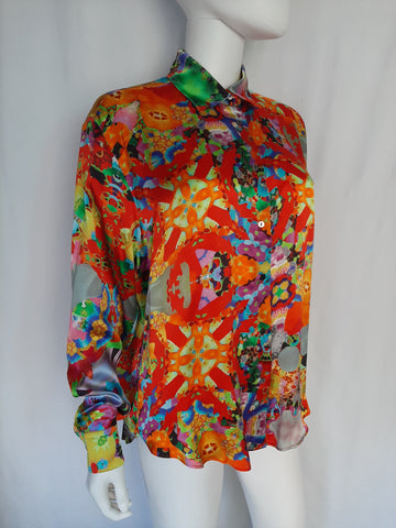 Flowers Satin Silk Shirt (Small)