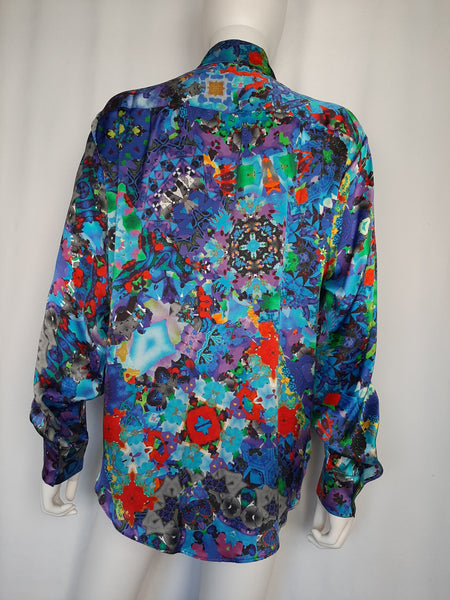 Blue Satin Silk Shirt (Small)