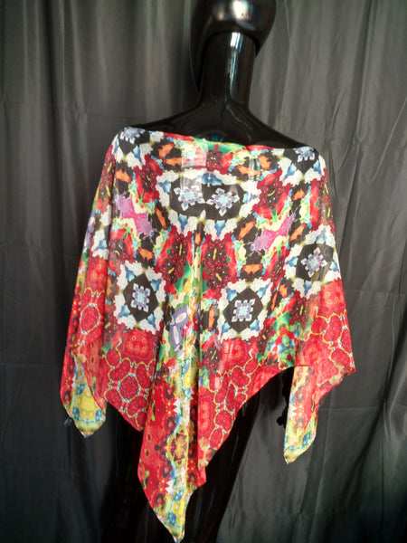 Red and Yellow Silk Chiffon 6mm Poncho 43x43 Inches