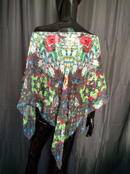Green and Red Silk Chiffon 6mm Poncho 43x43 Inches