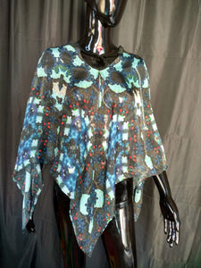 Black and Blue Silk Chiffon 6mm Poncho 43x43 Inches