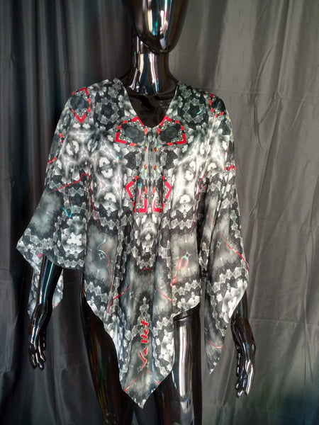 Black, White and Red Silk Chiffon 6mm Poncho 43x43 Inches