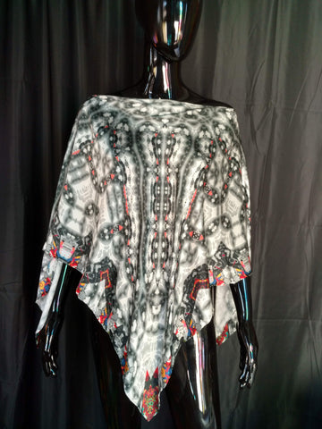 Black, White and Red Silk Satin 12mm Poncho 43x43 Inches