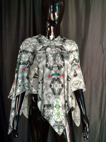 Black, White and Green Silk Satin 12mm Poncho 43x43 Inches