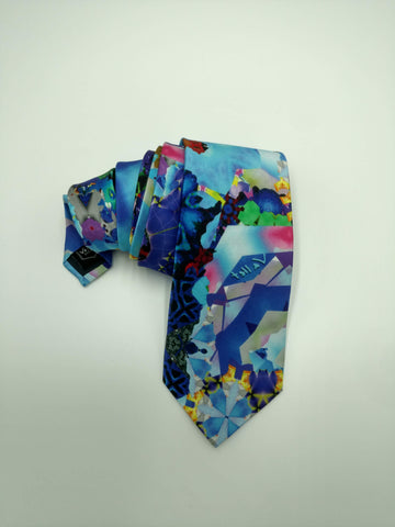Blue Satin Silk Tie