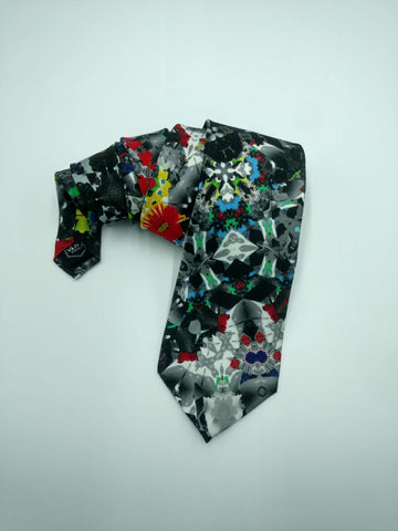 Almost Black & White Satin Silk Tie