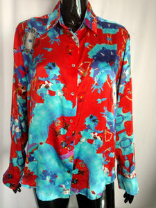 Red & White & Blue - Satin Silk Shirt