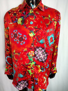 Red Satin Silk Shirt (Large)