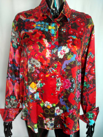 Red Satin Silk Shirt