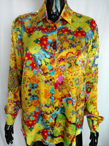 Yellow Satin Silk Shirt