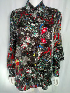 Almost Black & White Satin Silk Shirt