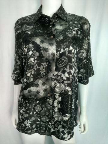 Black And White Twill Silk Shirt (Small, Shortsleeved)