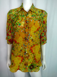 Yellow Chiffon Silk Shirt (Small, Shortsleeved)