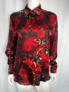 Dark Red Satin Silk Shirt