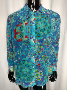 Blue Chiffon Silk Shirt