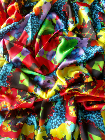 Red Blue and Yellow Scarf - Satin 12mm - 43x86 Inches
