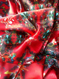 Red and Black Scarf - Satin 14mm - 43x86 Inches