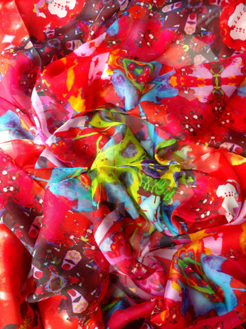 Red Scarf - Chiffon 6mm - 43x86 Inches