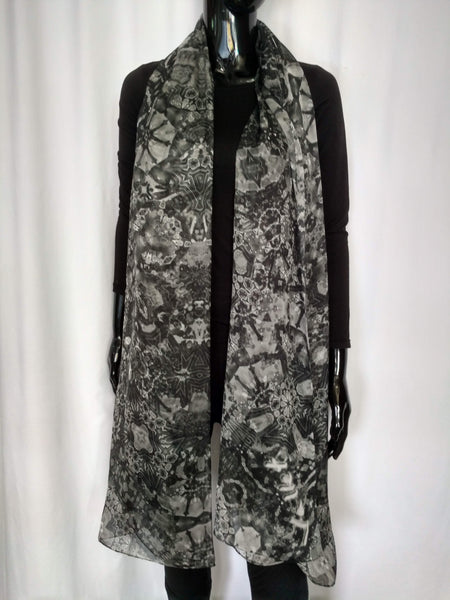 Black and White Scarf - Chiffon 6mm - 43x86 Inches