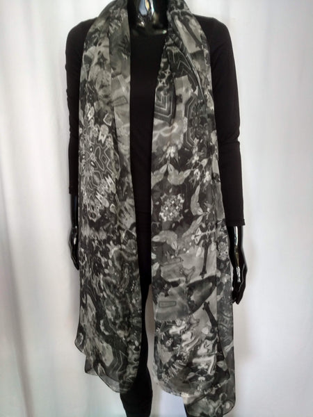 Black and White 2 Scarf - Chiffon 6mm - 43x86 Inches