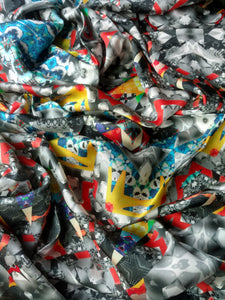 Almost Black and White Scarf - Satin 14mm - 43x86 Inches