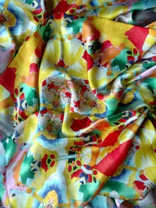 Yellow, Red and Green Scarf - Satin 12mm - 43x86 Inches