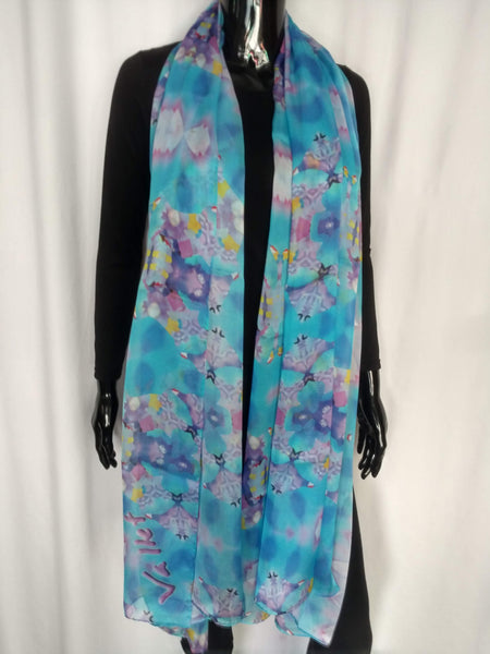 Light Blue Scarf - Chiffon 6mm - 43x86 Inches