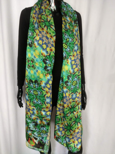 Green, Blue and Yellow Scarf - Satin 12mm - 43x86 Inches