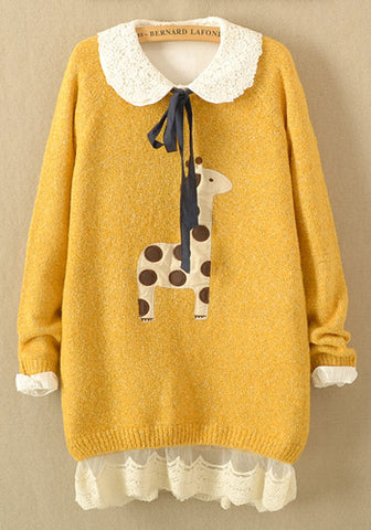 Giraffe Long Sleeve Pullover Top in Mustard Yellow