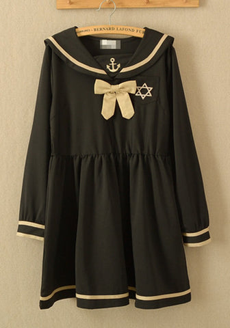 Japanese Sailor Uniform Anchor Print Bow Dress