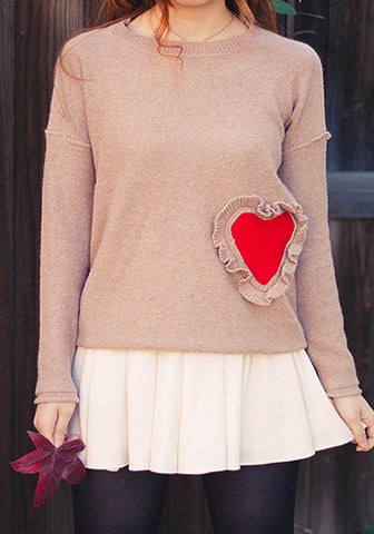 Rustic Sweetheart Raglan Long Sleeves Pullover Top