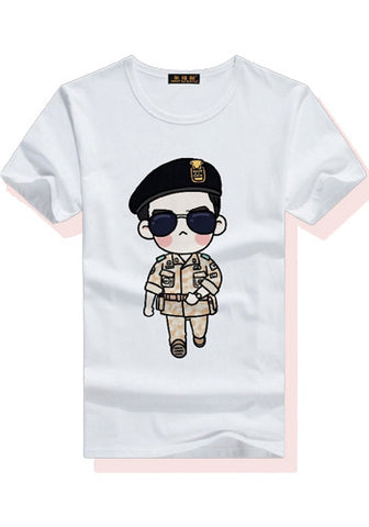 Descendants of the Sun Song Joong Ki Yoo Si Jin Cartoon Character Short Sleeves T-Shirt Top