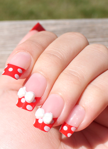 Black Polka Dot and Flower 3D Stick On Nails