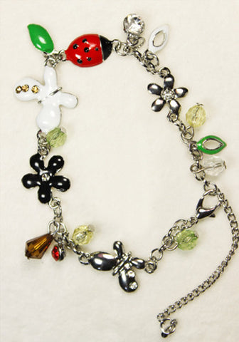 Ladybug and Butterflies Floral Theme Bracelet