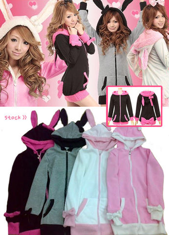 Korean Pop Up Cat Ear Zipper Mouth Pullover Top