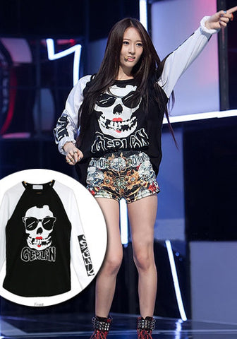 f(x) Krystal Kpop Concert Show Skulls with 2 Back Pockets Long Sleeves Top