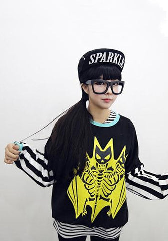 Korean Fashion Style Bat Skeleton Barcode Long Sleeves Pullover Top