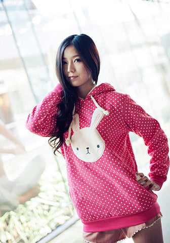 Polka Dot Bunny Hooded Sweater