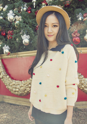 Holiday Puffs Peter Pan Collar Knitted Pullover Top