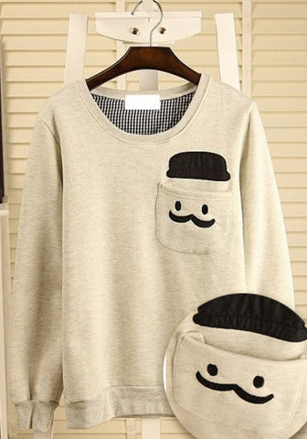 Mustache Front Pocket Long Sleeves Pullover Top