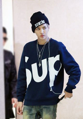 EXO Kris SUP Navy Pullover Sweater Top